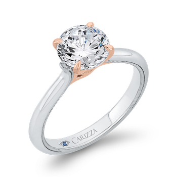 18K Two-Tone Gold Round Diamond Solitaire Plus Engagement Ring with Milgrain (Semi-Mount)