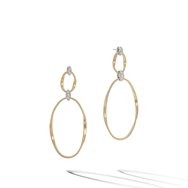 Marco Bicego Marrakech Onde Collection 18K Yellow Gold and Diamond Flat Link Double Drop Earrings