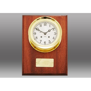 "4 1/2"" Ship's Bell Clock, Brass, Mahogany Wall Plaque"