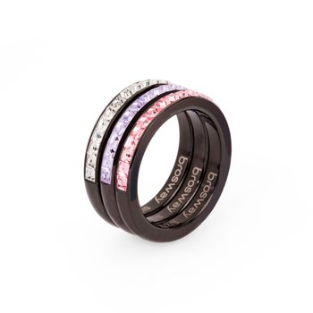 316L stainless steel, black pvd, crystal, violet and light rose Swarovski® Elements