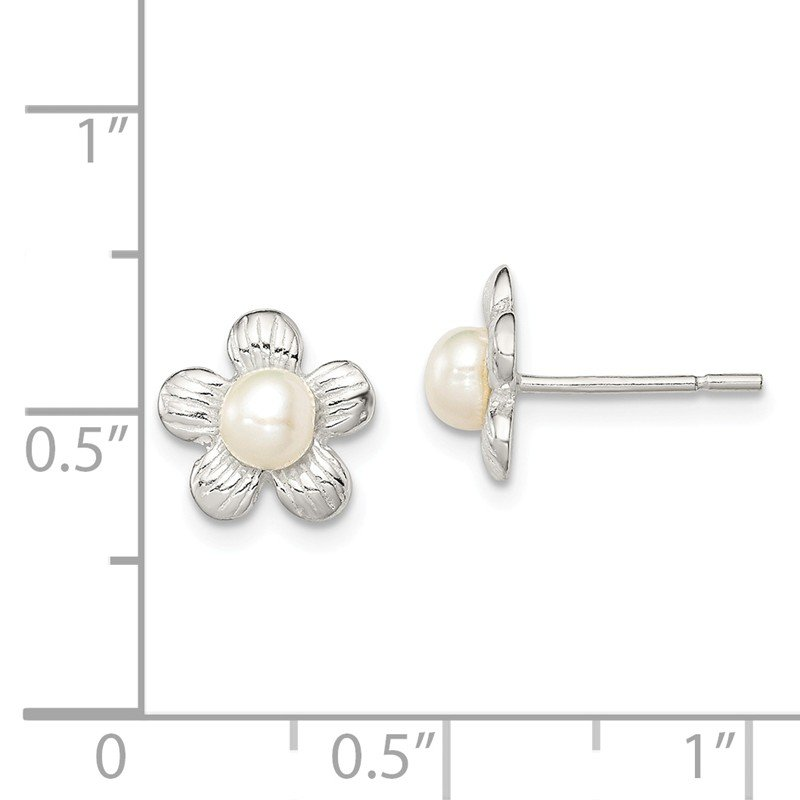 Sterling Silver Flower and Simulated Pearl Post Earrings