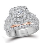 Bellissimo 14kt White Gold Womens Round Diamond Bellissimo Double Halo Bridal Wedding Engagement Ring Band Set 2.00 Cttw (Certified)