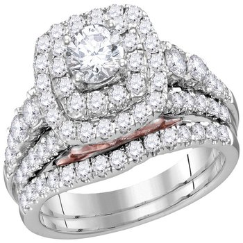 14kt White Gold Womens Round Diamond Bellissimo Double Halo Bridal Wedding Engagement Ring Band Set 2.00 Cttw (Certified)