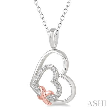 silver heart shape diamond pendant