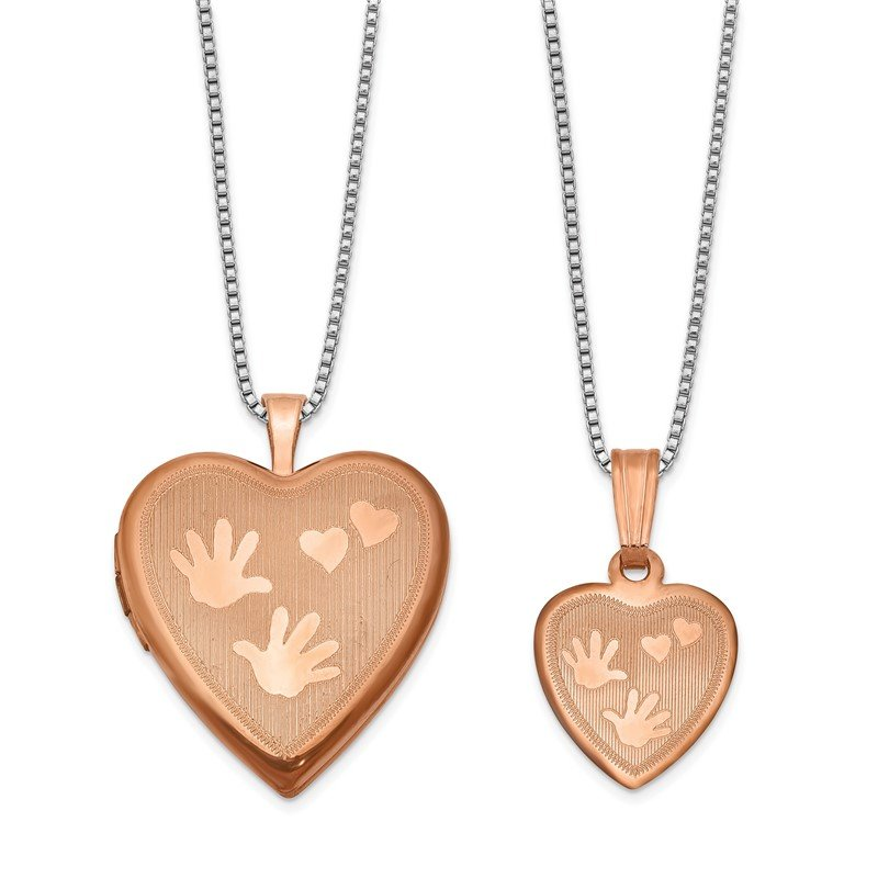 Quality Gold Sterling Silver Rose Gold-plated Polished Satin Hand and Hearts Locket & Pe