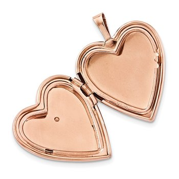 Sterling Silver Rose Gold-plated Polished Satin Hand and Hearts Locket & Pe