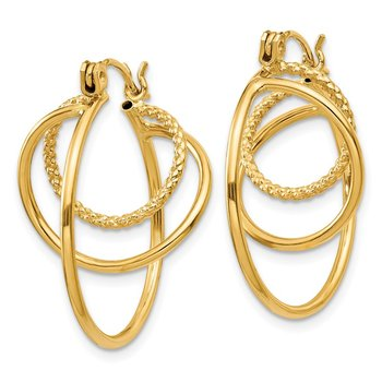 14k Fancy Swirl Hoop Earrings
