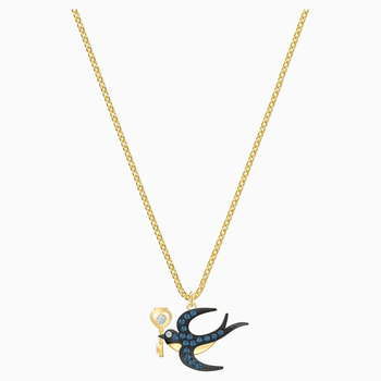 Tarot Magic Necklace, Blue, Gold-tone plated