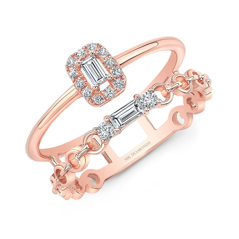 Rose Gold Two Row Baguette Link Ring