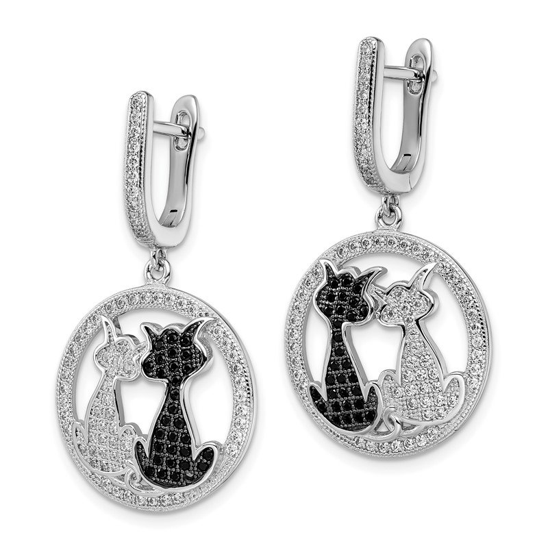 Quality Gold SS RH CZ Brilliant Embers Cat Dangle Hinged Hoop Earrings