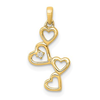 14k White Gold .01ct. Diamond Four Hearts Pendant