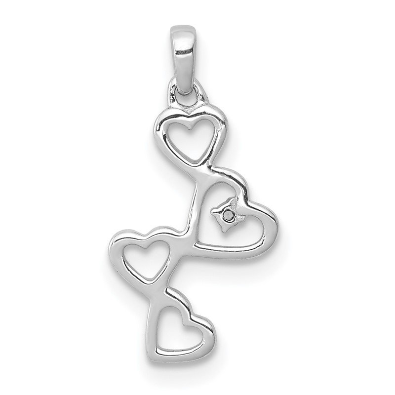 Quality Gold 14k White Gold .01ct. Diamond Four Hearts Pendant