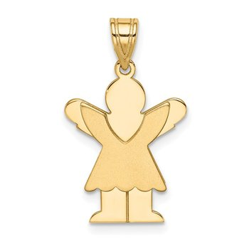 14k Satin Engravable Girl w/Ruffled Skirt Charm