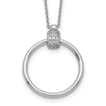 Sterling Silver Rhodium-plated Polished CZ w/2in Necklace