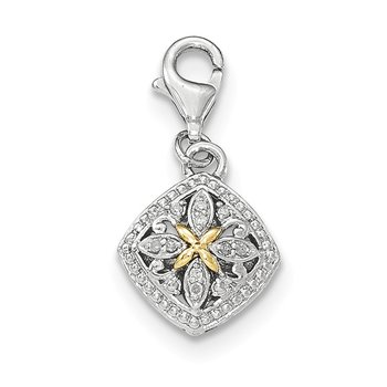 Sterling Silver w/14k Diamond w/Lobster Clasp Charm