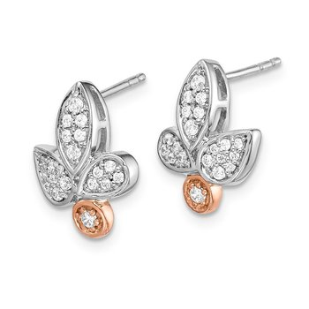 14k Rose & White Gold Diamond Fancy Leaf Earrings