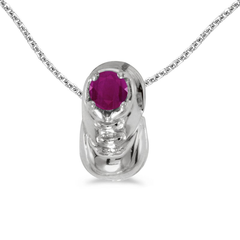 Color Merchants 14k White Gold Round Ruby Baby Bootie Pendant