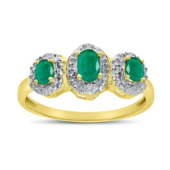 14k Yellow Gold Oval Emerald And Diamond Three Stone Ring