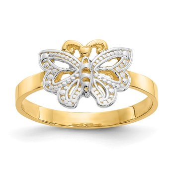 14k w/Rhodium Butterfly Ring