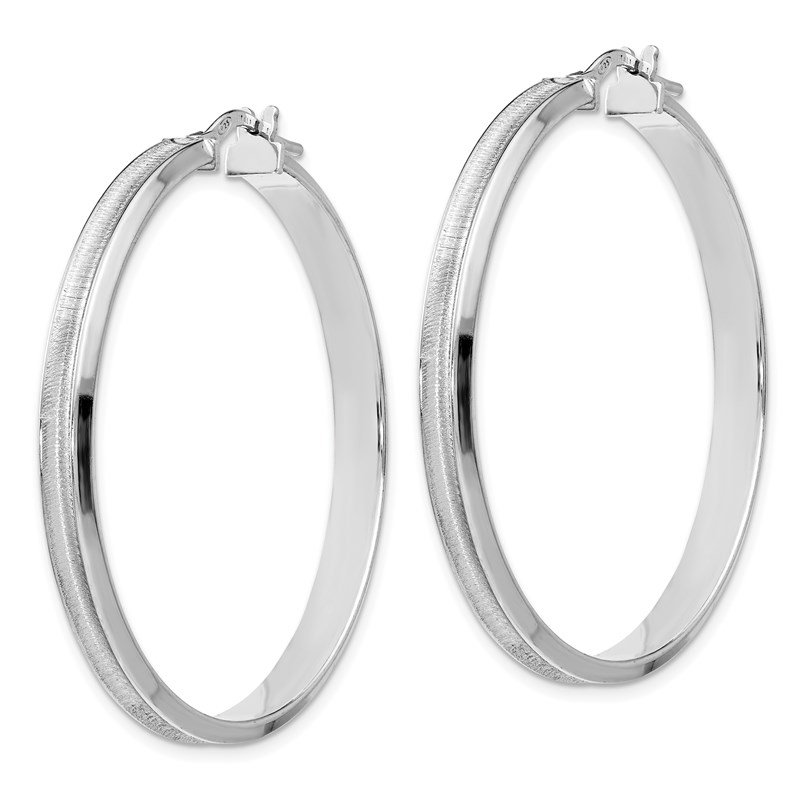 Leslie's Leslie's Sterling Silver Rhodium-plated Brushed Hoop Earrings