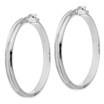 Leslie's Sterling Silver Rhodium-plated Brushed Hoop Earrings