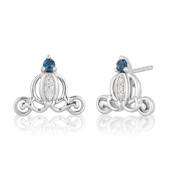 Sterling Silver 0.03CTW Cinderella Carriage Earrings