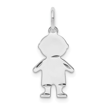 SS Rh-plt D/C Engraveable Boy Polished Front/Satin Back Disc Charm