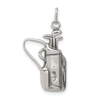 Sterling Silver Antiqued Golf Clubs w/Bag Charm