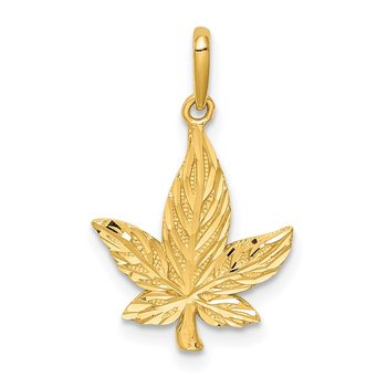 14K Diamond-Cut Leaf Pendant