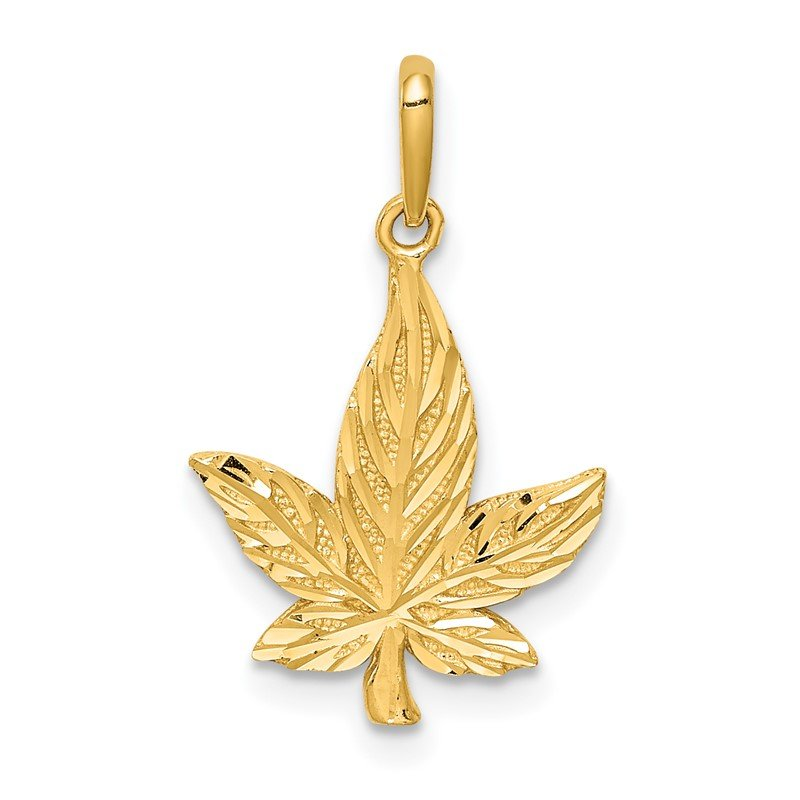 Quality Gold 14K Diamond-Cut Leaf Pendant