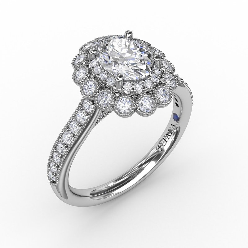 Fana Vintage Double Halo Oval Engagement Ring With Milgrain Details