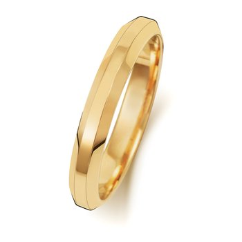 18Ct Yellow Gold 3mm Soft Court Bevelled Wedding Ring