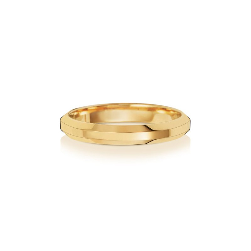 Treasure 18Ct Yellow Gold 3mm Soft Court Bevelled Wedding Ring