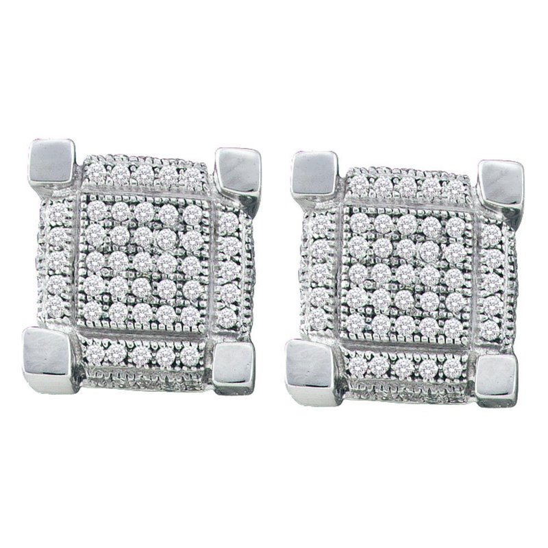 Gold-N-Diamonds, Inc. (Atlanta) Sterling Silver Mens Round Diamond 3D Square Cluster Stud Earrings 1/2 Cttw