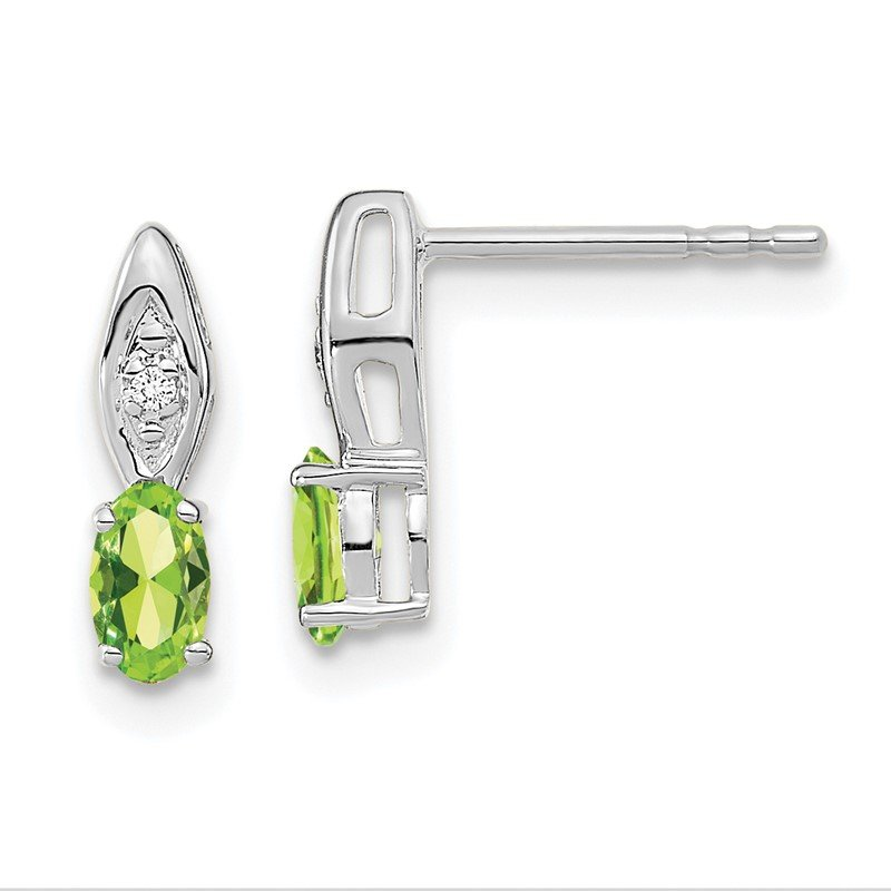Quality Gold 14k White Gold Peridot and Diamond Post Earrings