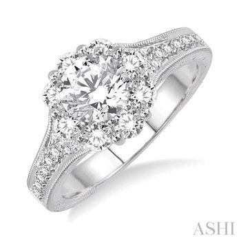 FLOWER SHAPE SEMI-MOUNT DIAMOND ENGAGEMENT RING