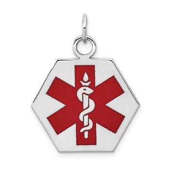 14k White Gold Red Enamel Medical Jewelry Pendant