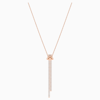 Lifelong Y Pendant, White, Rose-gold tone plated