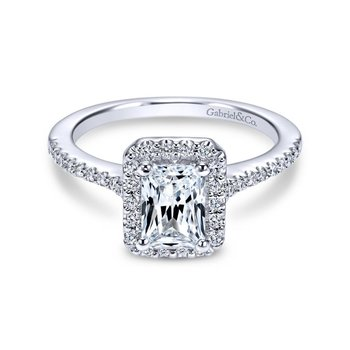 14k White Gold Emerald Cut Diamond Halo Engagement Ring with Pave Shank