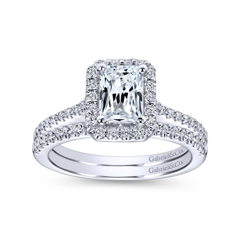 Gabriel Bridal Top Picks 14K White Gold Emerald Halo Diamond Engagement Ring