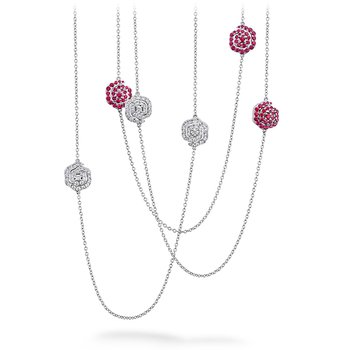 Lorelei Diamond and Ruby Floral Station Necklace