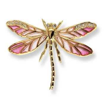 Pink Dragonfly Lapel Pin.18K -Diamonds - Plique-a-Jour