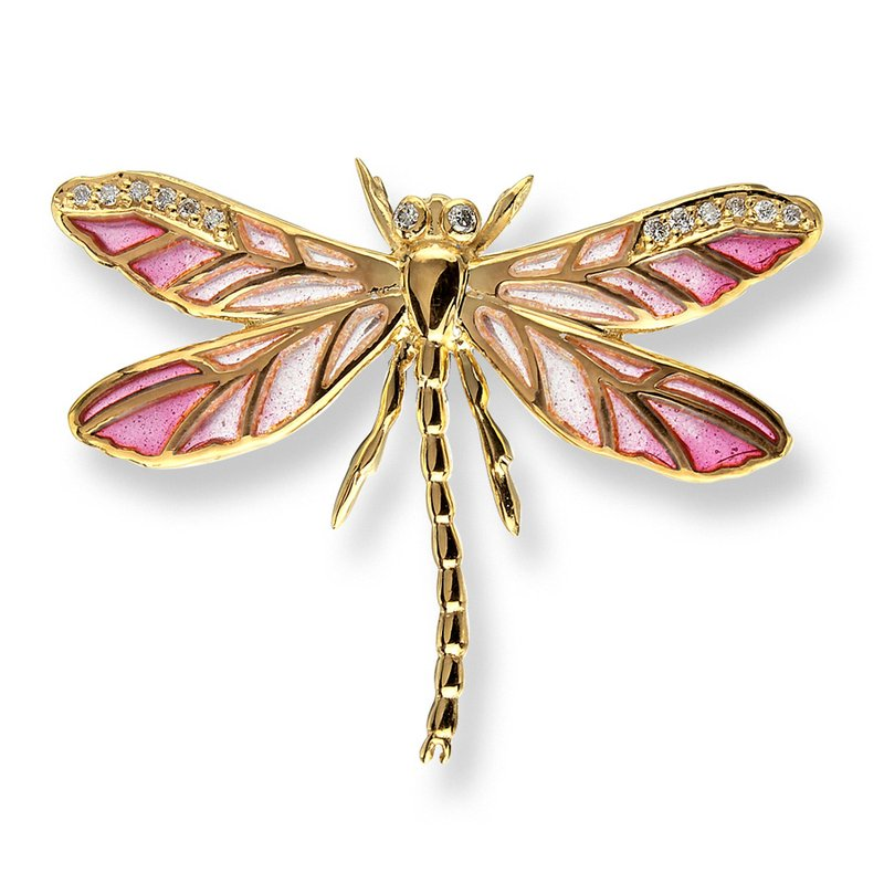 Nicole Barr Designs Pink Dragonfly Lapel Pin.18K -Diamonds - Plique-a-Jour