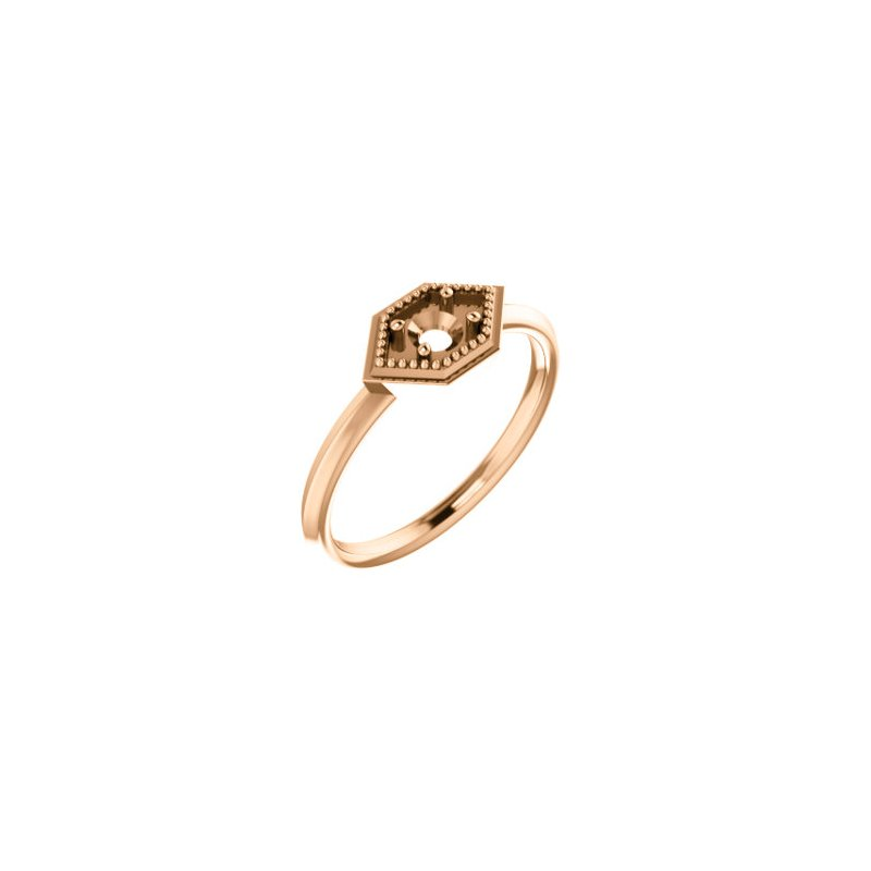 Stuller 18K Rose 4 mm Round Geometric Ring Mounting