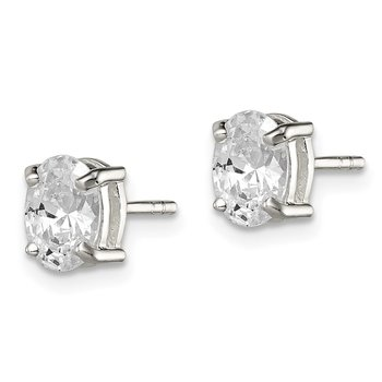 Sterling Silver 5x7mm Oval Basket Set CZ Stud Earrings