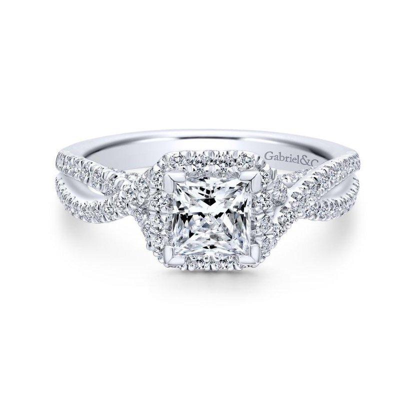 Gabriel Bridal 14k White Gold Princess Halo Diamond Engagement Ring Thollot Diamonds Fine Jewelry