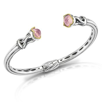 Sterling Silver and 14K/Y Rose Quartz Bangle.