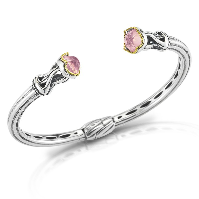 Shula NY Sterling Silver and 14K/Y Rose Quartz Bangle.