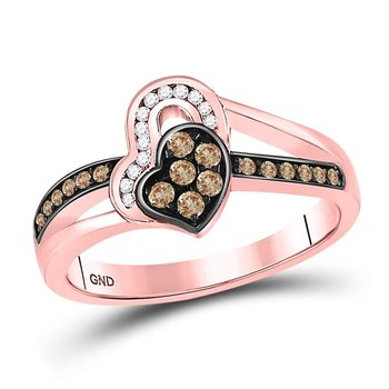 10kt Rose Gold Womens Round Brown Color Enhanced Diamond Heart Ring 1/3 Cttw