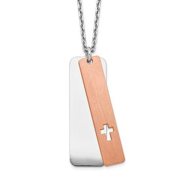 Sterling Silver Dogtag w/Rose-tone Cross w/ 1.25in .ext Necklace
